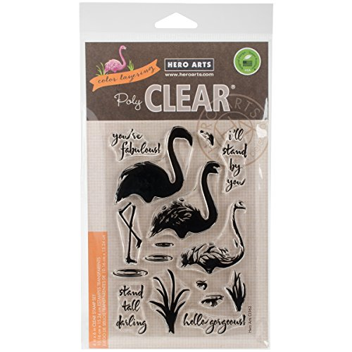 Hero Arts CL962 Clear Stamps, Color Layering Flamingo, 4