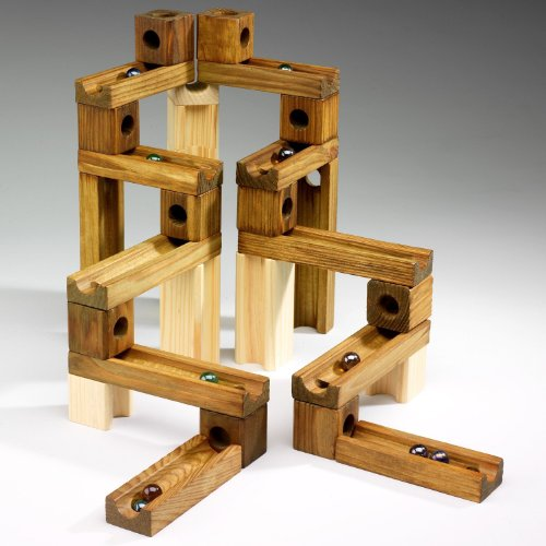 Wooden Construction Toys : Ideal amaze n marbles piece classic wood construction