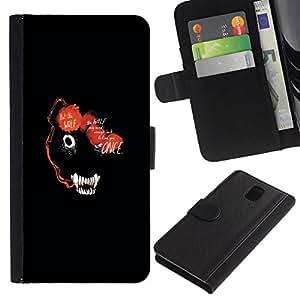 NEECELL GIFT forCITY // Billetera de cuero Caso Cubierta de protección Carcasa / Leather Wallet Case for Samsung Galaxy Note 3 III // RESUMEN DE LOS ANIMALES DE LA CARA OSCURA DEL LOBO