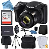 Canon PowerShot SX420 20 MP Digital Camera (Black) + 64GB SDHC Memory Card + Deluxe Carrying Case + Extra Battery + 50 Quality Tripod + Hand Grip + Cleaning Kit + DigitalAndMore PLUS Accessories