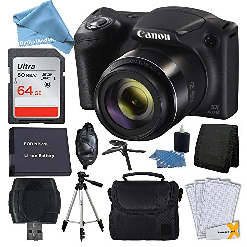 Canon PowerShot SX420 20 MP Digital Camera (Black) + 64GB SDHC Memory Card + Deluxe Carrying Case + Extra Battery + 50″ Quality Tripod + Hand Grip + Cleaning Kit + DigitalAndMore PLUS Accessories