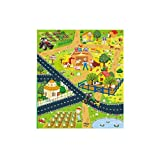 Baulody Play Mat for Kids, Foldble Waterproof Crawling Mat, City Life Great for Playing with Cars and Toys, Children Educational Road Traffic Playmat for Bedroom Play Room Game Safe Area (Multicolor)