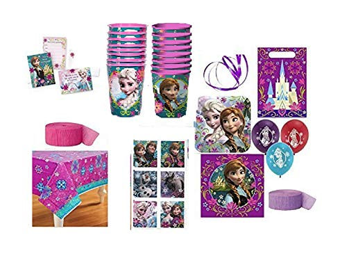 Disney Party Supplies for 16 Guests This Ultimate Party Pack Includes Invitations, Lunch Plates, Lunch Napkins, Souvenir Cups, Table Cover, Favor/treat Bags, Thank You Postcards, Package of Stickers, Pink and Lavender Streamers, Balloons and Curling Ribbon - This Bundle Has a Total of 146 Pieces