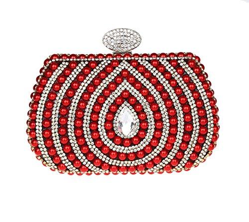 Diamanté Sac Perlé Pour Bal Cérémonie Rouge Brillant de Pochette Femme Elégante Soirée Rétro 1qdR4q