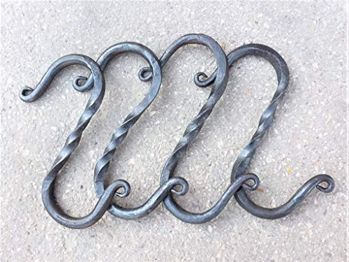 (Hand Forged Hanging S Hooks with Twist - Set of 4)
