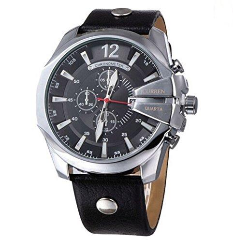 CURREN Original Mens Sports Waterproof Calendar Leather Strap Wrist Watch Good Quality 8176 Silver Black