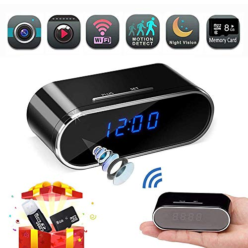 Spy Camera, Hidden Camera Clock,HD 1080P WiFi Nanny Cam,140°Angle Wireless IP Surveillance Camera with Night Vision/Motion Detection/Loop Recording for Indoor Home Security Monitoring via APP (Cam Hd Wifi Nanny)