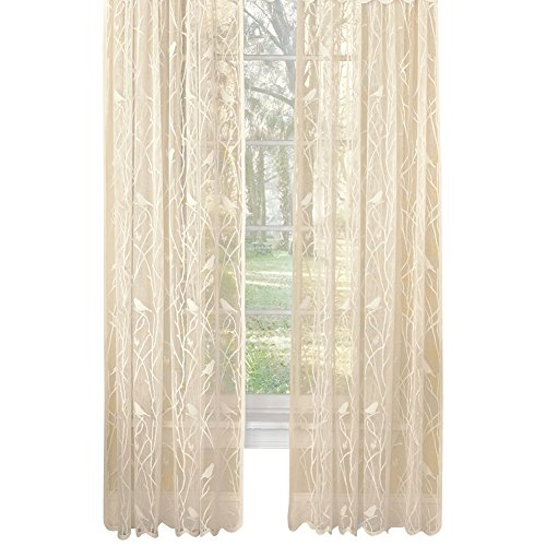 - Collections Etc Songbird Rod Pocket Lace Curtain Panel with Scalloped Hem, Ivory, 56