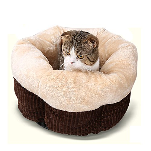Saymequeen Cat Super Soft Sleeping Bag Small Medium Dog Sofa Bed Kitten Cave House (M:pet weight within 16 lb, Coffee)