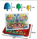 Vixker DIY ペグボード パズル 玩具 ジグソー 知育おもちゃ 図形パズルのペグボード パズルゲーム玩具 カラーマッシュルーム釘 ジグソー パズル キノコ型 おもちゃのパズル こども用 ABS製 想像力 創造力 発想力 アップ カラーランダム (ペグ 296個)