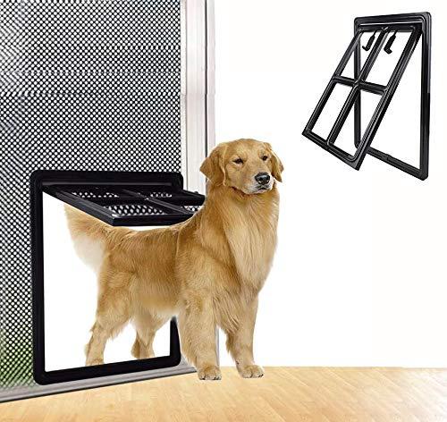 SUCCESS Dog Door for Sliding Screen Door, Magnetic Automatic Lock Pet Screen Door Dog for Dogs Puppies Cats,Black, Large, 17.91