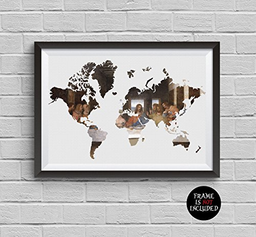 World Map Wintage Painting Leonardo Da Vinci Print The Last Supper Poster Archival Fine Art Print Wall Art Wall Decor Art Home Decor Wall ()