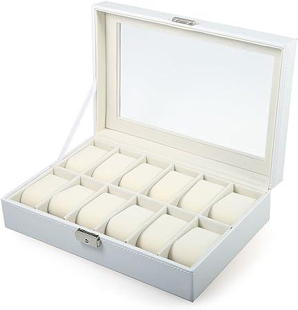 The perseids Cajas de Reloj con 12 compartimentos, Caja de Exhibición con Tapa de Cristal para 12 Relojes en Cuero Sintético de PU (Blanco): Amazon.es: Hogar