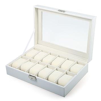Cajas para Relojes, The perseids Estuche para Relojes, Con 12 Compartimentos, Caja de presentación para 12 relojes en PU Piel Sintética (Blanco, ...