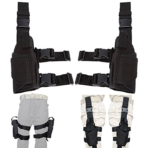 (Lux Left Hand & Right Hand Adjustable Universal Waterproof Pistol/Gun Drop Puttee Leg Thigh Holster Pouch Holder)
