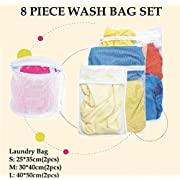 Amazon Lightning Deal 100% claimed: B&E Home Essential Laundry Mesh Wash Bag Set (Small * 2, Medium * 2, Large * 2, Bra Wash Bag * 2) - Set of 8