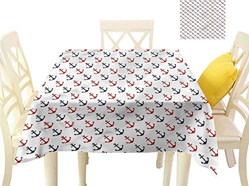 Hoop Diagonal (WilliamsDecor Square Tablecloth Nautical,Diagonal Anchors Marine Table Cover W 60