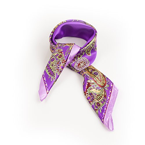 SCF049-Purple Border Paisley Print Neck tie