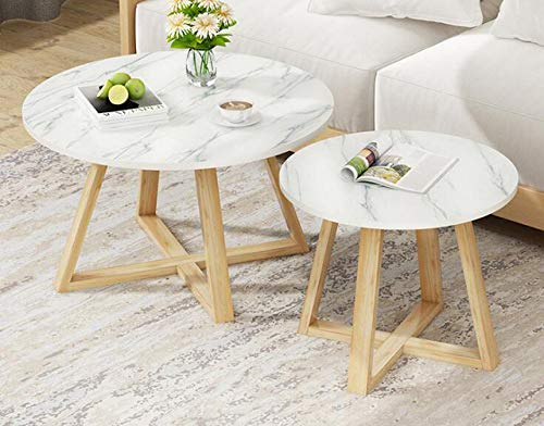 LGFSG Mesa de Centro Sala de Estar encimera Mesa de Centro de diseno de marmol apartamento pequeno y Sencillo Creativo Mesa Redonda pequena, combinacio