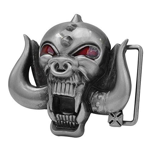 Buckle Rage Adult Mens Wild Pig Demon Rebel Skull Horns Biker Belt Buckle - Biker Buckle