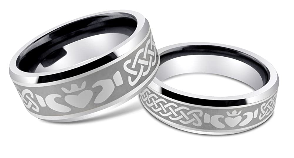 ring claddaghside bands claddagh tungsten irish