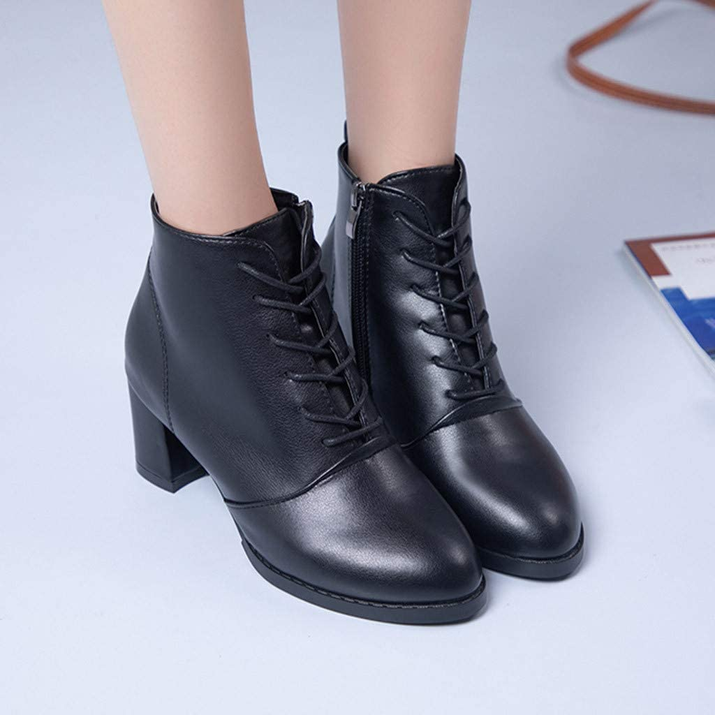 Classic Square Low Heel Pointed Toe Tie Up Single Shoes Trendy Leather Zip Closure Boots Shoes Womens Lace Up Booties