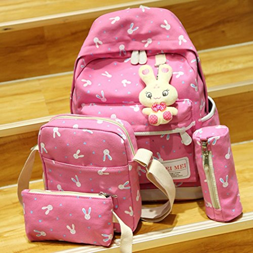 Outsta 4 Sets Women Girl Rabbit Animals Travel Backpack, School Bag Shoulder Bag Handbag Travel Lightweight Classic Basic Water Resistant Backpack Fashion (Hot Pink) by Outsta (Image #1)