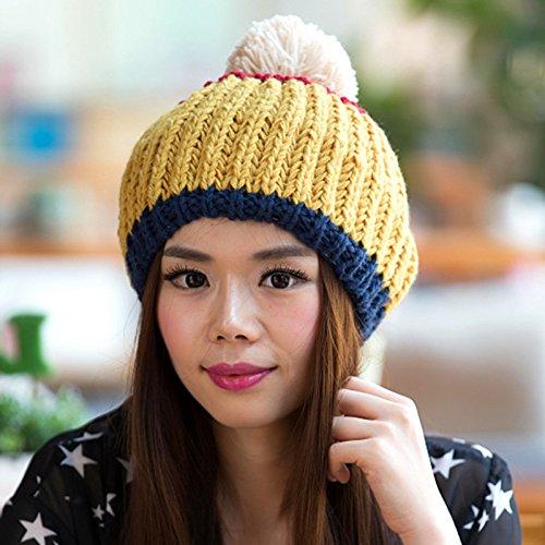 Hebilla Hecha de Hairball Libre Sombrero Aire YELLOW Lana Invierno Invierno Plata Coreano al de Grande otoño Red Maozi en e xPIRpXqRw