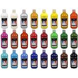 Artina 24er Crylic Acrylfarben Set als hochwertige Künstler-Malfarbe in 500 ml Flaschen für Keilrahmen & mehr