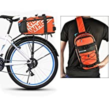 Roswheel 5L Bike Bag 2 in 1 Multifunctional Waterproof Cycling Bicycle Rear Seat Trunk Bag Carrying Luggage Package Rack Panniers Outdoor - Also used as Shoulder Bag