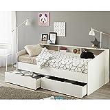 Funktionsbett 90*200 cm weiß inkl. Bettschubkasten Regalwand Kinderbett Jugendbett Bettliege Bett...