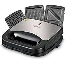 Kealive Sandwich Maker, 750-Watts, 3 in 1 Sandwich Toaster, Sandwich Press with Nonstick Anodized Aluminum Coated Plates, LED Indicator Lights, Cool Touch Handle, Anti-Skid Feet, Black