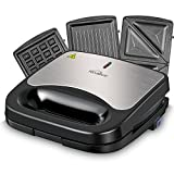 Kealive Sandwich Maker, Waffle Maker 750-Watts, 3 in 1 Sandwich Toaster with Non-Stick Coated Plates, Sandwich Press with LED Indicator Lights, Cool Touch Handle, Anti-Skid Feet, Black