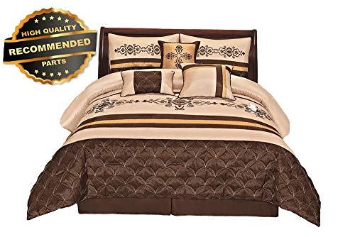 Gatton Premium New 7 Pieces Complete Beddg EnsembBeige Brown Gold Embroidery Comforter | Style Collection Comforter-311012258 (Lauren Collection Conrad)