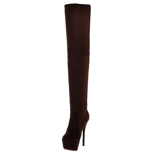 fd3b6ebe4ac7b2 AIYOUMEI Damen Plateau Stretch Overknee Stiefel mit 13cm Absatz Stiletto  High Heels Langschaft Stiefel