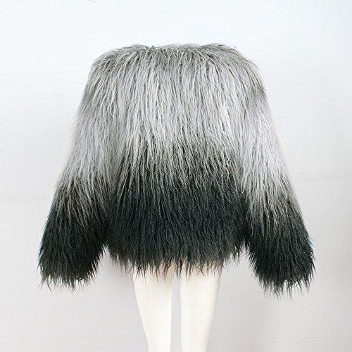 Chaud Leather fourrure de Fake d'hiver fourrure femme Grey Jacket Châle Woman Gilet d'hiver Parka en Jacket Co Vicgrey Manteau wX0qfxT