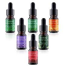 COOSA Aromatherapy 6 Essential Oils Set Lavender Tea Tree Peppermint Lemongrass Sweet Orange Rose for Essential Oil Diffuser