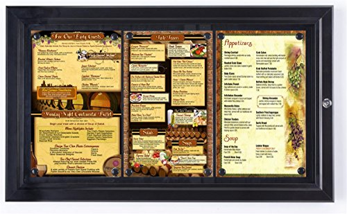 Displays2go Weather Resistant Magnetic Surface Bulletin Board With Swing-Open Locking Door, Black Finish Aluminum Frame (ODM851431)