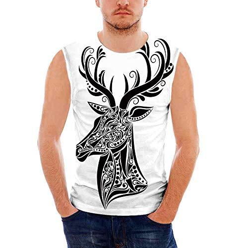 Mens Sleeveless Antlers Decor T- Shirt,Tattoo Pattern in