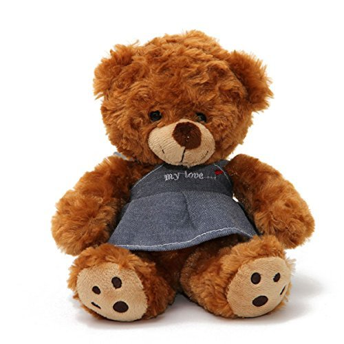 18cm Adorable Teddy Bear 12s Voice Recording Doll Sound Recordable Plush Toy Soft Stuffed Animal Doll (Coffee)