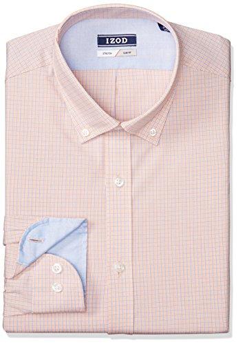Mini Tartan Shirt - IZOD Men's Dress Shirts Slim Fit Stretch Mini Plaid, Whiskey, 15.5