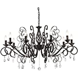 Ecopower Vintage Wrought Iron 10-lights Chandelier with Crystal Dangle