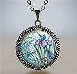 Dragonfly and Iris pendant, iris jewelry, dragonfly jewelry, iris necklace, dragonfly pendant, iris jewellery, dragonfly charm dragonfly art
