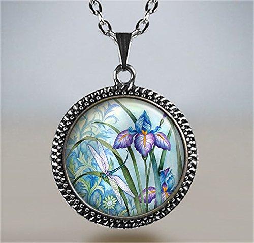 - Dragonfly and Iris pendant, iris jewelry, dragonfly jewelry, iris necklace, dragonfly pendant, iris jewellery, dragonfly charm dragonfly art