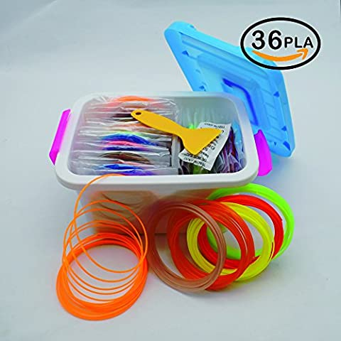 NanHong roll outThe New 3D Pen Filament Refills Storage box Kit 6 Glow in the Dark Colors 1.75mm pla.36 Colors/16 Feet Each Colors Kit,590 Linear Feet Total - 16 Linear Feet