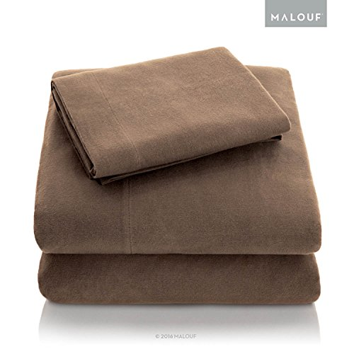 Woven Heavyweight Portuguese Flannel Pillowcase Set - 100% Cotton Pill Resistant Bedding - Set of 2 - Queen Size Pillowcases - Coffee (Rated Top Flannel Sheets)