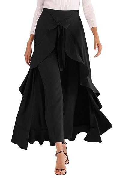 53596084ad Aivtalk Ruffle Pant Skirt for Women Long Split Tie Waist Chiffon Overlay  Pant Skirts Soft Maxi