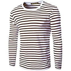 uxcell Men Crew Neck Long Sleeves Striped T-Shirt Coffee White S US 34