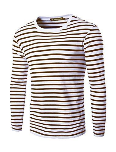 uxcell Men Crew Neck Long Sleeves Striped T-Shirt S Coffee+White]()
