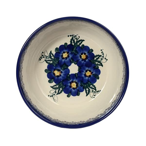 Traditional Polish Pottery, Handcrafted Ceramic Salad Bowl (900ml), Boleslawiec Style Pattern, d.18cm, M.703.Pansy